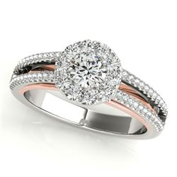 0.75 CTW Certified VS/SI Diamond Solitaire Halo Ring 18K White & Rose Gold - REF-130A5X - 26632