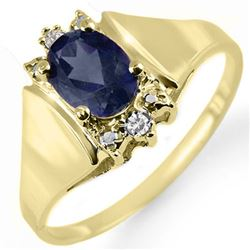 1.28 CTW Blue Sapphire & Diamond Ring 10K Yellow Gold - REF-16M2H - 12993