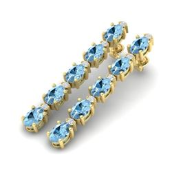 12.47 CTW Aquamarine & VS/SI Certified Diamond Tennis Earrings 10K Yellow Gold - REF-126M5H - 29474