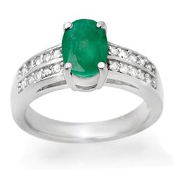 3.25 CTW Emerald & Diamond Ring 14K White Gold - REF-60T2M - 13846