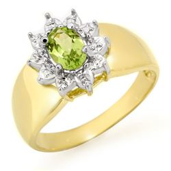 0.46 CTW Peridot Ring 10K Yellow Gold - REF-15H3A - 12674