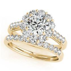 3.14 CTW Certified VS/SI Diamond 2Pc Wedding Set Solitaire Halo 14K Yellow Gold - REF-645Y2K - 30746