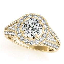 1.45 CTW Certified VS/SI Diamond Solitaire Halo Ring 18K Yellow Gold - REF-241N8Y - 26717