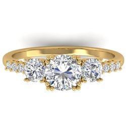 1.5 CTW Certified VS/SI Diamond Art Deco 3 Stone Ring 14K Yellow Gold - REF-215A3X - 30461