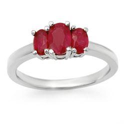 1.0 CTW Ruby Ring 18K White Gold - REF-40M9H - 13713