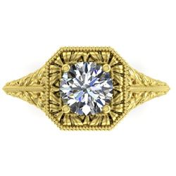 1 CTW Solitaire Certified VS/SI Diamond Ring 14K Yellow Gold - REF-289T6M - 38528