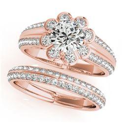 1.86 CTW Certified VS/SI Diamond 2Pc Wedding Set Solitaire Halo 14K Rose Gold - REF-418X4T - 31287