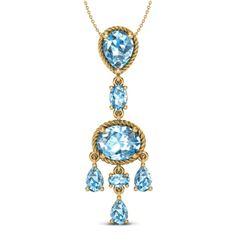 8 CTW Sky Blue Topaz Necklace Designer Vintage 10K Yellow Gold - REF-34K4W - 20397
