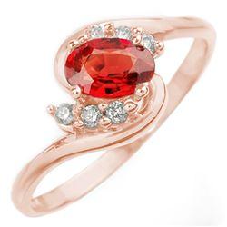 0.70 CTW Red Sapphire & Diamond Ring 14K Rose Gold - REF-22N4Y - 10253