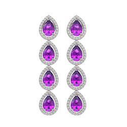 7.85 CTW Amethyst & Diamond Halo Earrings 10K White Gold - REF-136T2M - 41177