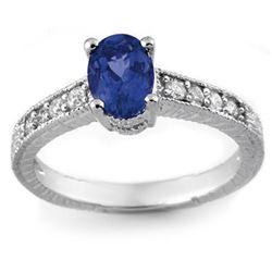 1.02 CTW Blue Sapphire & Diamond Ring 18K White Gold - REF-43H6A - 14108