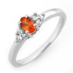 0.44 CTW Orange Sapphire & Diamond Ring 10K White Gold - REF-18M8H - 10557