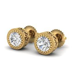 1.09 CTW VS/SI Diamond Solitaire Art Deco Stud Earrings 18K Yellow Gold - REF-202A8X - 36889