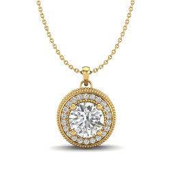1.25 CTW VS/SI Diamond Solitaire Art Deco Necklace 18K Yellow Gold - REF-218Y2K - 37144