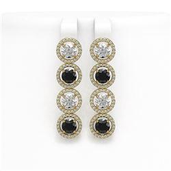 6.22 CTW Black & White Diamond Designer Earrings 18K Yellow Gold - REF-635Y6K - 42703