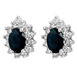 5.46 CTW Blue Sapphire & Diamond Earrings 18K White Gold - REF-100W8F - 12874
