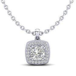 1.25 CTW Cushion VS/SI Diamond Solitaire Art Deco Necklace 18K White Gold - REF-315Y2K - 37037