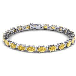 19.7 CTW Citrine & VS/SI Certified Diamond Eternity Bracelet 10K White Gold - REF-98T2M - 29363