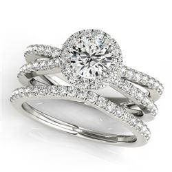 2.37 CTW Certified VS/SI Diamond 2Pc Wedding Set Solitaire Halo 14K White Gold - REF-517T5M - 31023