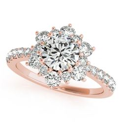 2.19 CTW Certified VS/SI Diamond Solitaire Halo Ring 18K Rose Gold - REF-530F2N - 26507