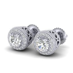 1.55 CTW VS/SI Diamond Solitaire Art Deco Stud Earrings 18K White Gold - REF-259K3W - 36962