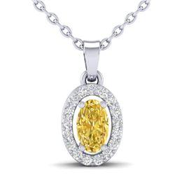 0.65 CTW Citrine & Micro Pave VS/SI Diamond Necklace Halo 18K White Gold - REF-25T5M - 21317