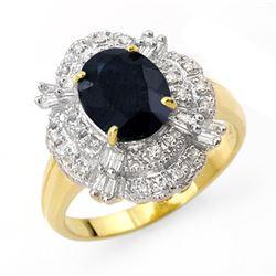 3.20 CTW Blue Sapphire & Diamond Ring 14K Yellow Gold - REF-69M3H - 13139