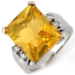 10.88 CTW Citrine & Diamond Ring 10K White Gold - REF-55F3N - 10405
