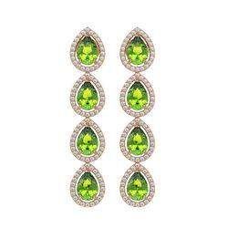 7.46 CTW Peridot & Diamond Halo Earrings 10K Rose Gold - REF-153Y5K - 41166