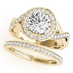 1.84 CTW Certified VS/SI Diamond 2Pc Wedding Set Solitaire Halo 14K Yellow Gold - REF-258Y2K - 30641