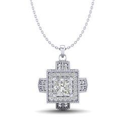 0.84 CTW Princess VS/SI Diamond Micro Pave Necklace 18K White Gold - REF-149W3F - 37190