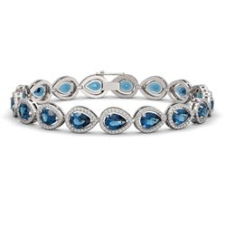 16.59 CTW London Topaz & Diamond Halo Bracelet 10K White Gold - REF-281X6T - 41126