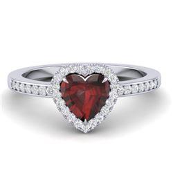 1.20 CTW Garnet & Micro VS/SI Diamond Ring Heart 14K White Gold - REF-35N3Y - 21406