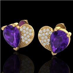 2.50 CTW Amethyst & Micro Pave VS/SI Diamond Earrings 10K Yellow Gold - REF-30W2F - 20065