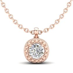 1.1 CTW VS/SI Diamond Solitaire Art Deco Stud Necklace 18K Rose Gold - REF-218X2T - 37122