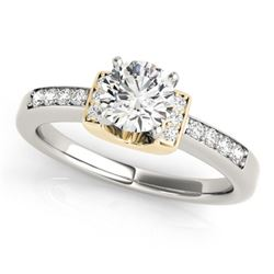 0.61 CTW Certified VS/SI Diamond Solitaire Ring 18K White & Yellow Gold - REF-119W3F - 27439