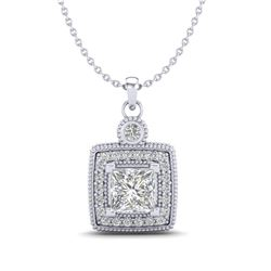 0.91 CTW Princess VS/SI Diamond Art Deco Stud Necklace 18K White Gold - REF-145X5T - 37130