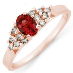 0.74 CTW Pink Tourmaline & Diamond Ring 14K Rose Gold - REF-27X3T - 10901