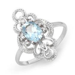 0.83 CTW Blue Topaz & Diamond Ring 10K White Gold - REF-17M8H - 12467
