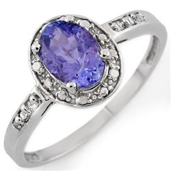 1.10 CTW Tanzanite & Diamond Ring 10K White Gold - REF-18K2W - 10270
