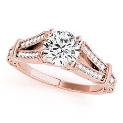 0.75 CTW Certified VS/SI Diamond Solitaire Antique Ring 18K Rose Gold - REF-137T3M - 27289