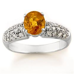 1.25 CTW Yellow Sapphire & Diamond Ring 14K White Gold - REF-56K4W - 14316