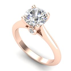 1.6 CTW VS/SI Diamond Art Deco Ring 18K Rose Gold - REF-555H2A - 37293