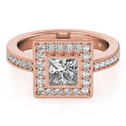 1.11 CTW Certified VS/SI Princess Diamond Solitaire Halo Ring 18K Rose Gold - REF-209N3Y - 27190