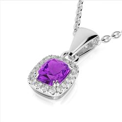 1.25 CTW Amethyst & Micro Pave VS/SI Diamond Halo Necklace 10K White Gold - REF-28W8F - 22875