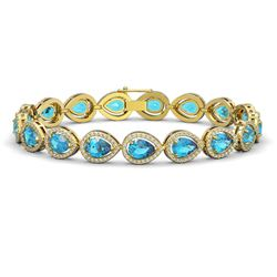 16.59 CTW Swiss Topaz & Diamond Halo Bracelet 10K Yellow Gold - REF-276A8X - 41125