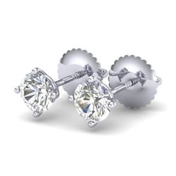 0.65 CTW VS/SI Diamond Solitaire Art Deco Stud Earrings 18K White Gold - REF-97H3A - 37295
