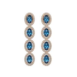 6.28 CTW London Topaz & Diamond Halo Earrings 10K Rose Gold - REF-104T5M - 40539