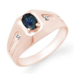 0.68 CTW Blue Sapphire & Diamond Men's Ring 18K Rose Gold - REF-52X4T - 13161