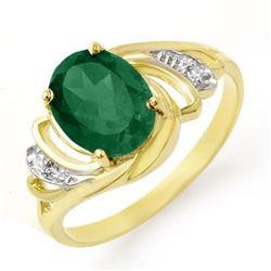2.14 CTW Emerald & Diamond Ring 14K Yellow Gold - REF-35A3X - 13586